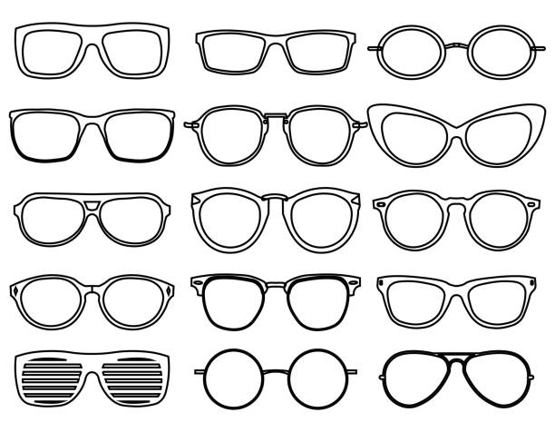 line glasses icons. wear fashion eyeglass, optical design sunglass, accessory object, vector illustration - okulary stock illustrations