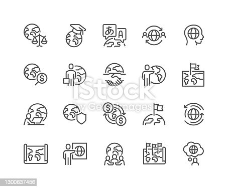 Simple Set of Global Business Related Vector Line Icons.  Contains such Icons as World Map, Outsource, Financial Transactions and more. Editable Stroke. 48x48 Pixel Perfect.