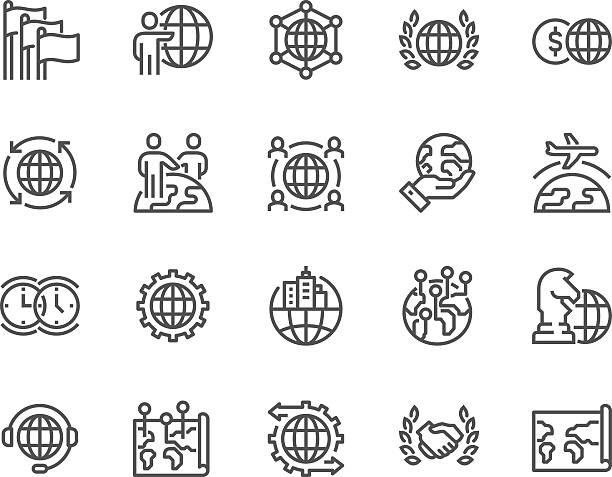 ikony globalnego biznesu linii - globalny stock illustrations