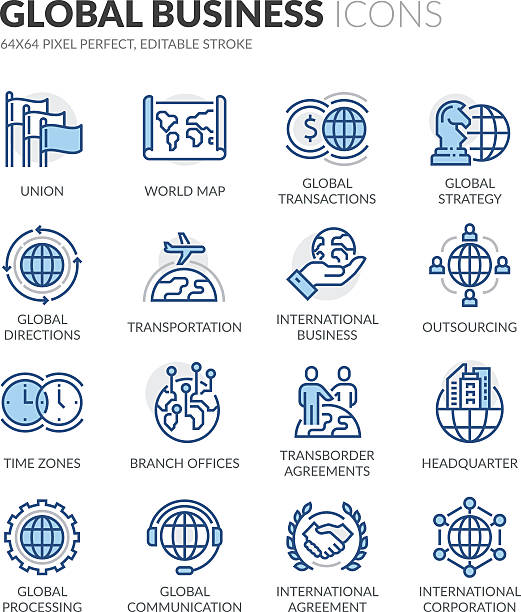 line global business icons - global communications stock illustrations, clip art, cartoons, & icons