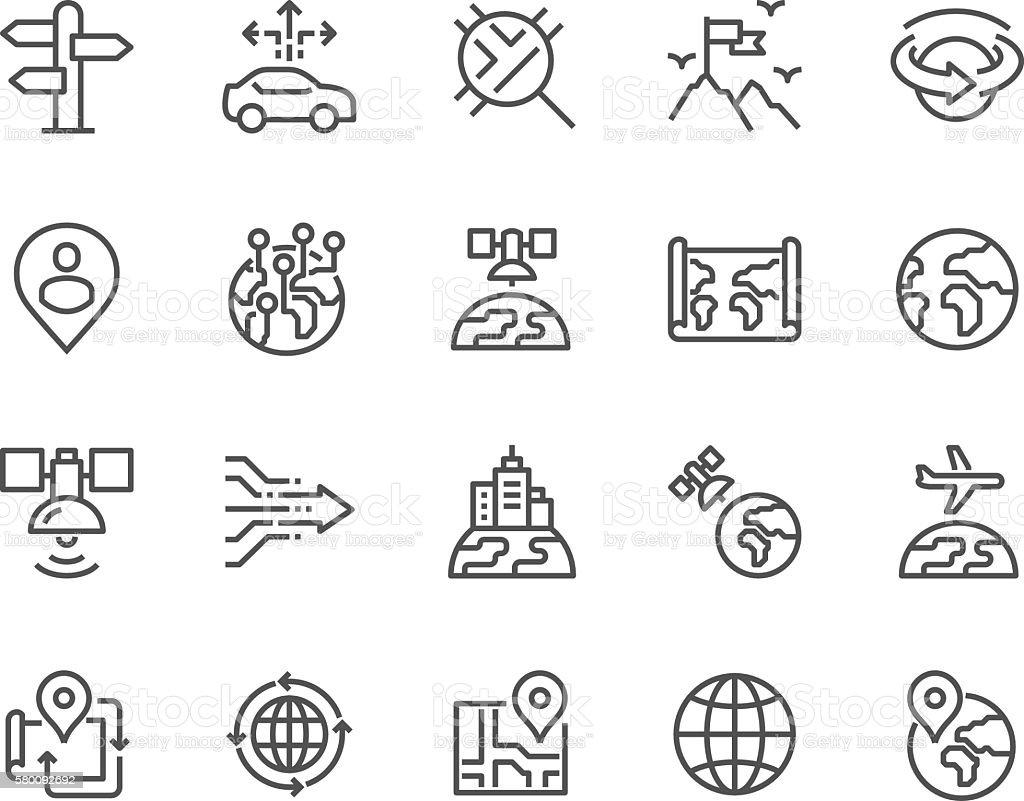Line Global Navigation Icons ベクターアートイラスト