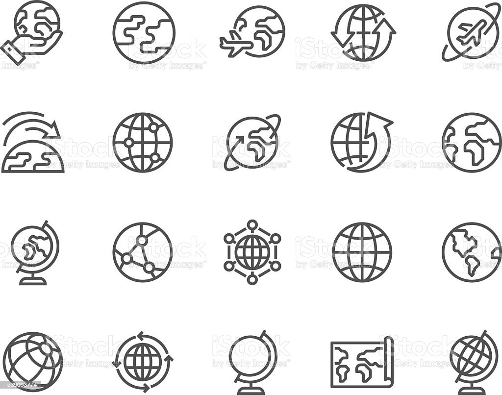 Line Globe Icons vector art illustration