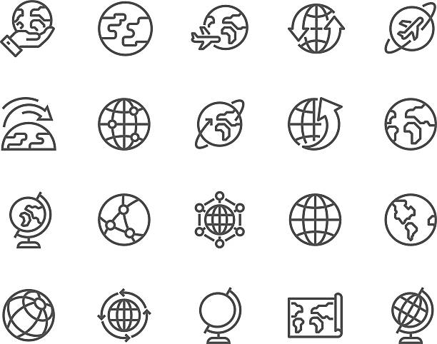 Line Globe Icons Simple Set of Globe Related Vector Line Icons. Contains such Icons as World Map, Connections, Global Business, Travel and more. Editable Stroke. 48x48 Pixel Perfect. country geographic area stock illustrations