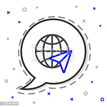 istock Line Globe with flying plane icon isolated on white background. Airplane fly around the planet earth. Aircraft world icon. Colorful outline concept. Vector Illustration 1257447414