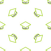 istock Line Graduation cap icon isolated seamless pattern on white background. Graduation hat with tassel icon. Vector 1272474046