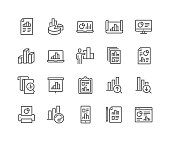 Simple Set of Graph Related Vector Line Icons.  Contains such Icons as Report, Abstract Chart Presentation, Increase - Decrease Graph and more. Editable Stroke. 48x48 Pixel Perfect.