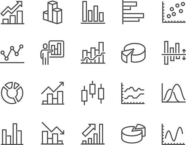 illustrations, cliparts, dessins animés et icônes de line graph icons - tableaux et graphiques