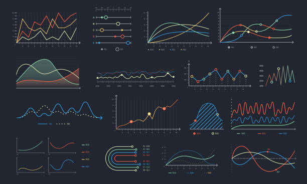 Line graph. Linear chart growth, business diagram graphs and colorful histogram graph isolated vector set Line graph. Linear chart growth, business diagram graphs and colorful histogram graph or business currency stock financial graphics. Investment planning analysis isolated vector symbols set graph stock illustrations