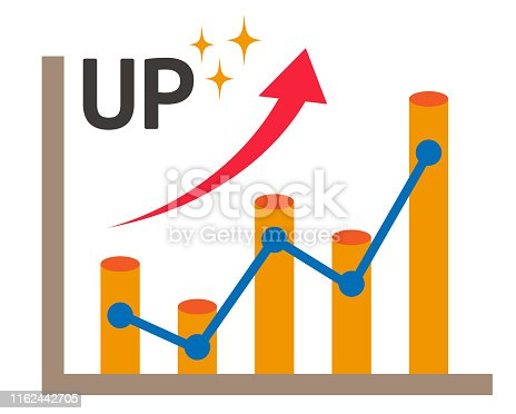 Line graph vector illustration.bar graph icon.