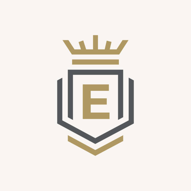 라인 그래픽 모노 그램입니다. 우아한 아트 로고 디자인입니다. 편지 e. 우아한 템플릿입니다. 비즈니스 간판, 레스토랑, 로열티, 부티크, 카페, 호텔, heraldic, 보석, 패션에 대 한 id. 벡터 요소 - 왕족 stock illustrations