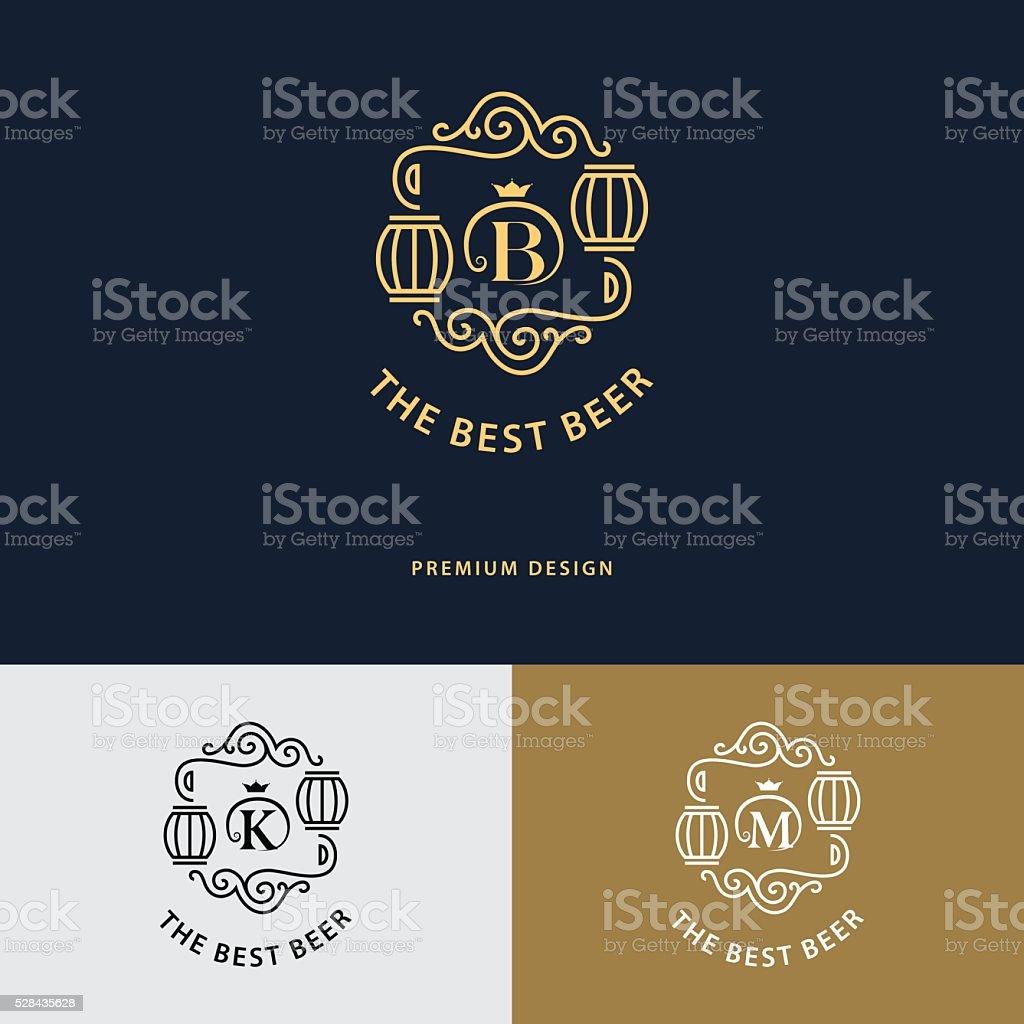 Line graphics monogram. Flourishes frame ornament template with barrel. Vector vector art illustration