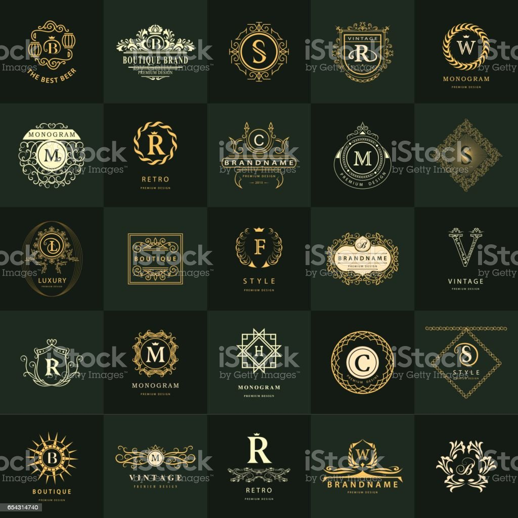 Line graphics monogram. Vintage Logos Design Templates Set. Business sign Letter emblem. Vector  elements idea, Icons Symbols, Retro Labels, Badges, Silhouettes. Collection 25 Items.