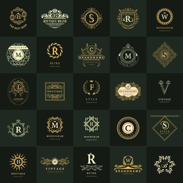 monogram grafiki liniowej. zestaw szablonów do projektowania vintage logos. podpis biznesowy emblemat listu. pomysł elementów wektorowych, symbole ikon, etykiety retro, odznaki, sylwetki. kolekcja 25 przedmiotów. - insygnia stock illustrations
