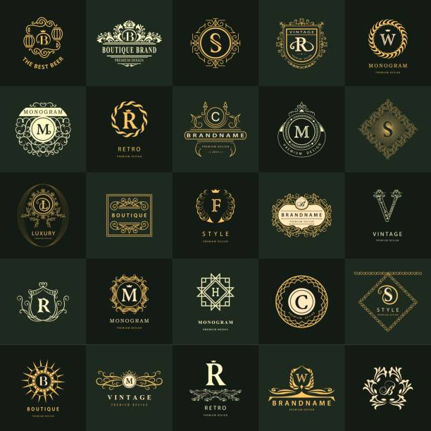 line graphics monogram. vintage logos design templates set. business sign letter emblem. vector  elements idea, icons symbols, retro labels, badges, silhouettes. collection 25 items. - retro and vintage frames stock illustrations, clip art, cartoons, & icons
