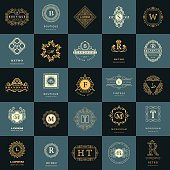 Vector illustration of Line graphics monogram. Vintage Logos Design Templates Set. Business sign Letter emblem. Vector  elements idea, Icons Symbols, Retro Labels, Badges, Silhouettes. Collection 25 Items.