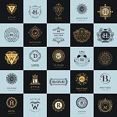 Line graphics monogram. Vintage Logos Design Templates Set. Business sign Letter emblem. Vector  elements idea, Icons Symbols, Retro Labels, Badges, Silhouettes. Collection 25 Items.