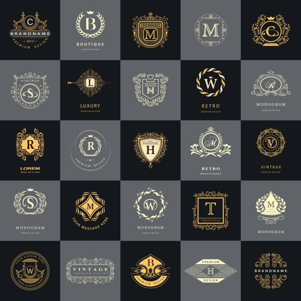 line graphics monogram. vintage logos design templates set. business sign letter emblem. vector  elements idea, icons symbols, retro labels, badges, silhouettes. collection 25 items. - coat of arms stock illustrations, clip art, cartoons, & icons