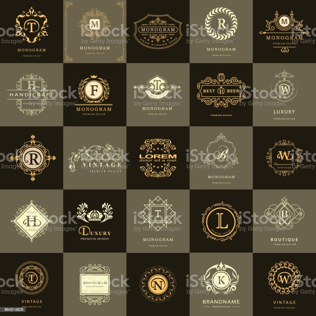 Monograma de gráficos de línea. Logotipos Vintage diseño plantillas conjunto. Emblema de la carta de muestra empresarial. Idea de los elementos del vector, Retro etiquetas, insignias, símbolos de iconos, siluetas. Elementos de la colección 25. - ilustración de arte vectorial