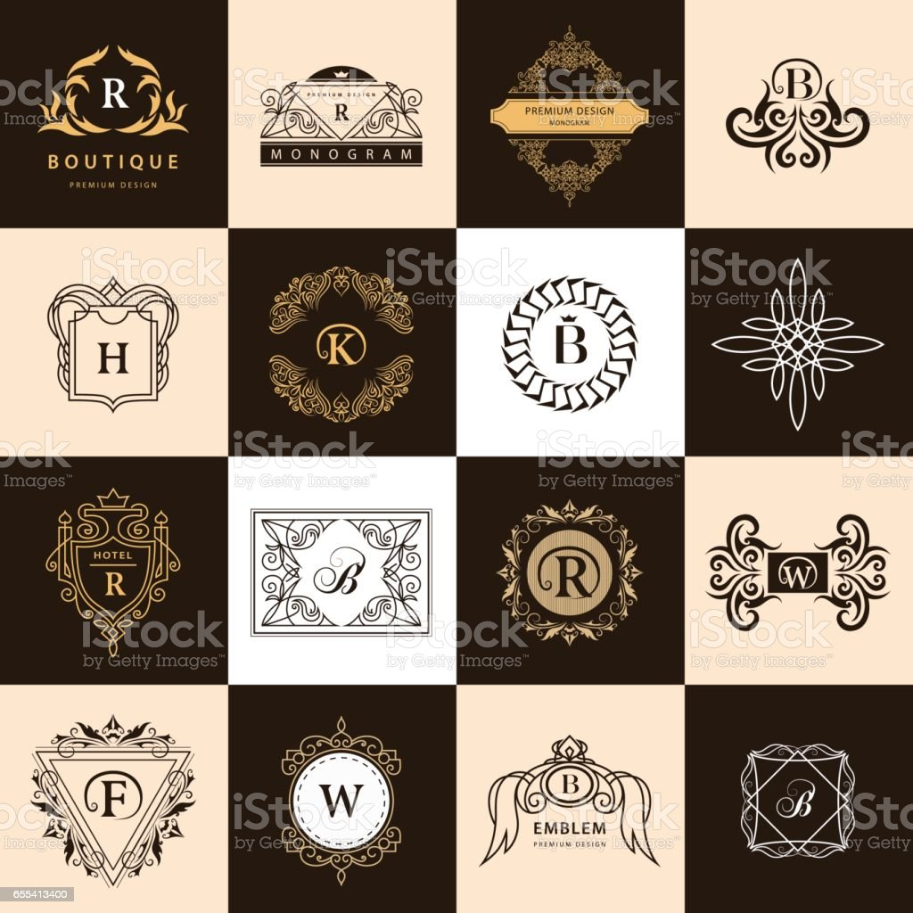 Line graphics monogram vintage logos design templates set business vintage logos design templates set business sign letter emblem vector flashek Images