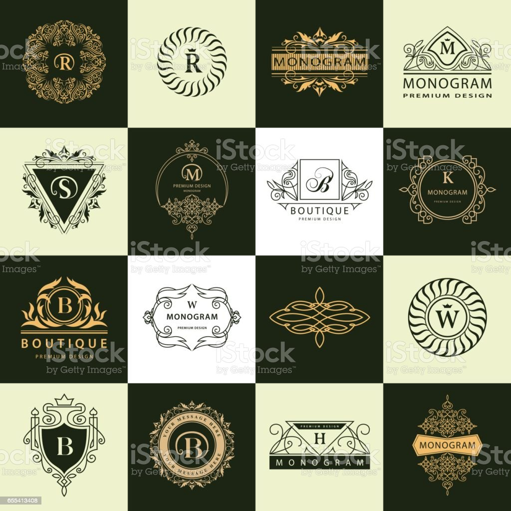 Line Graphics Monogram Vintage Logos Design Templates Set Business Sign Letter Emblem Vector Elements Idea Icons Symbols Retro Labels Badges Silhouettes Vector Illustration Collection Stock Illustration Download Image Now Istock