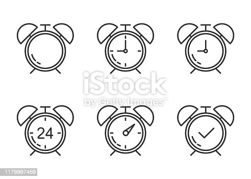 line gray set of clock alarm on white background. Vector illustration.