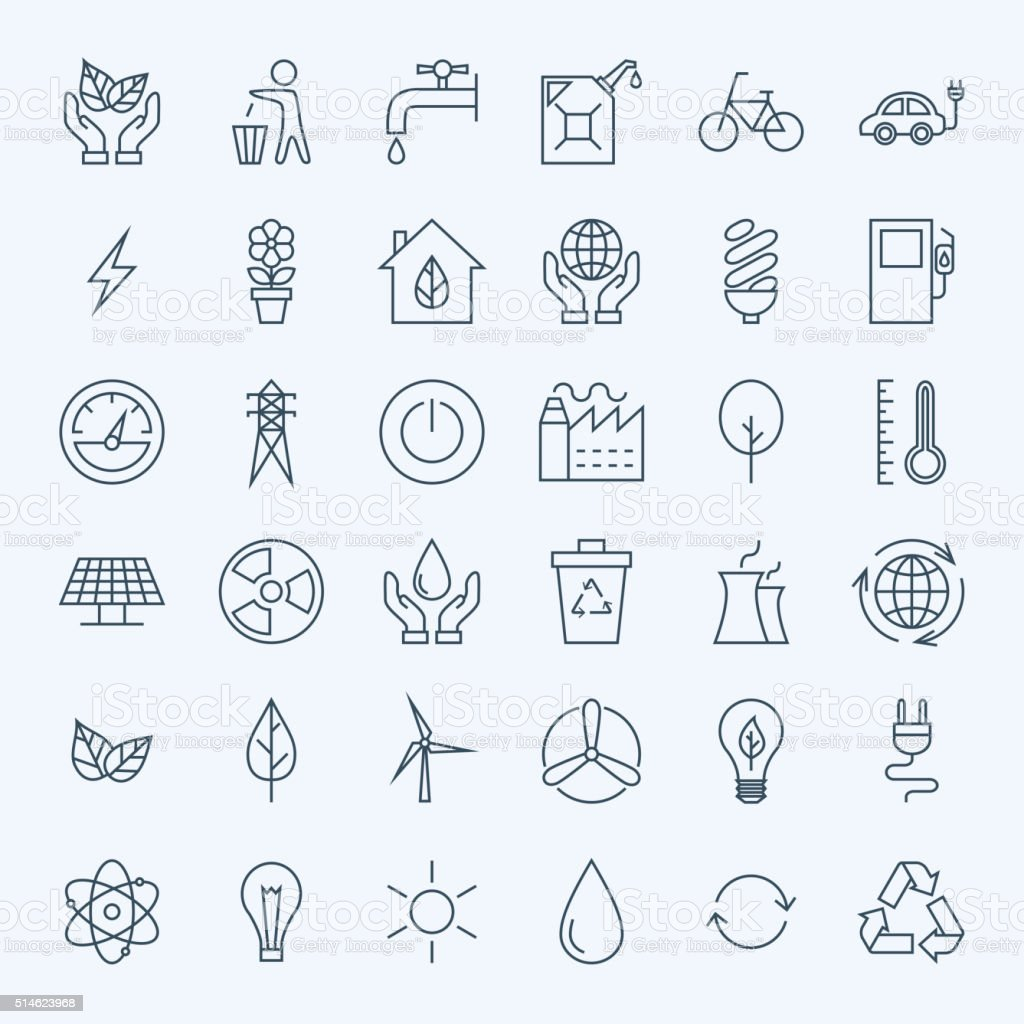 Line Green Energy Eco Icons Set vector art illustration