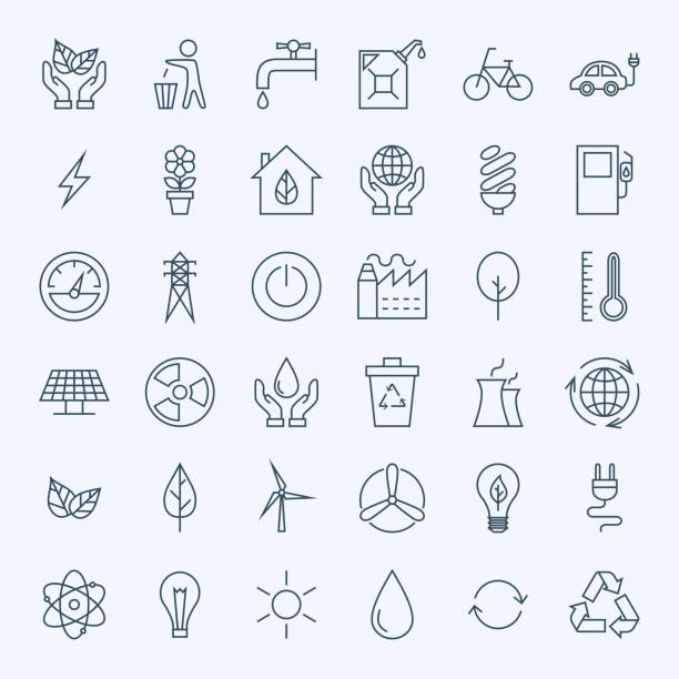 illustrations, cliparts, dessins animés et icônes de ligne d'énergie eco icônes vertes ensemble - desastre natural