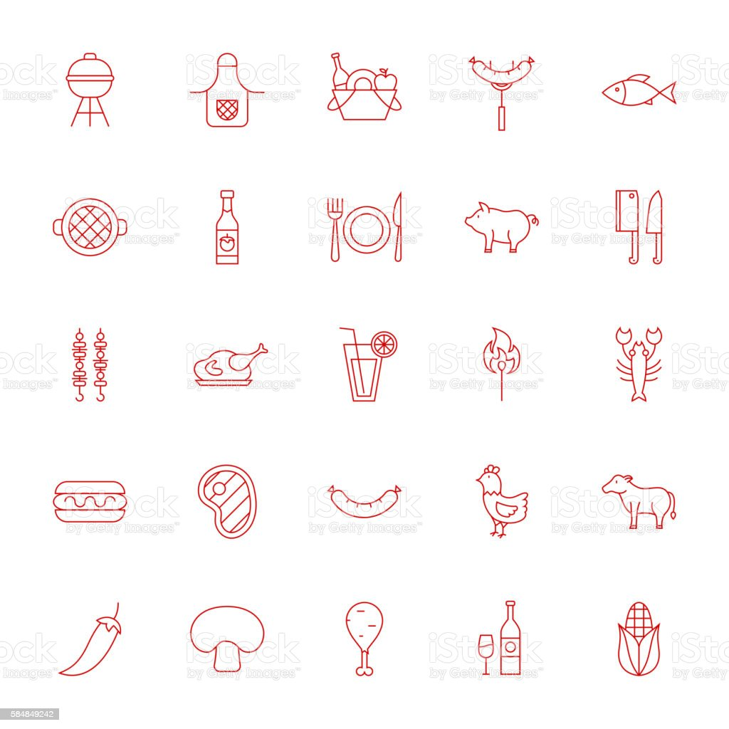 Line Grill Menu Icons vector art illustration