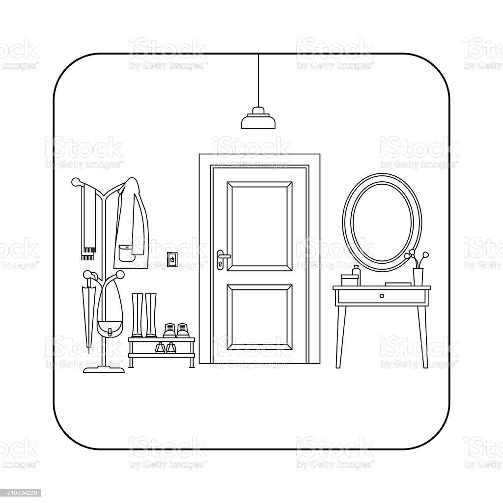 Line hallway interior with door. vector art illustration