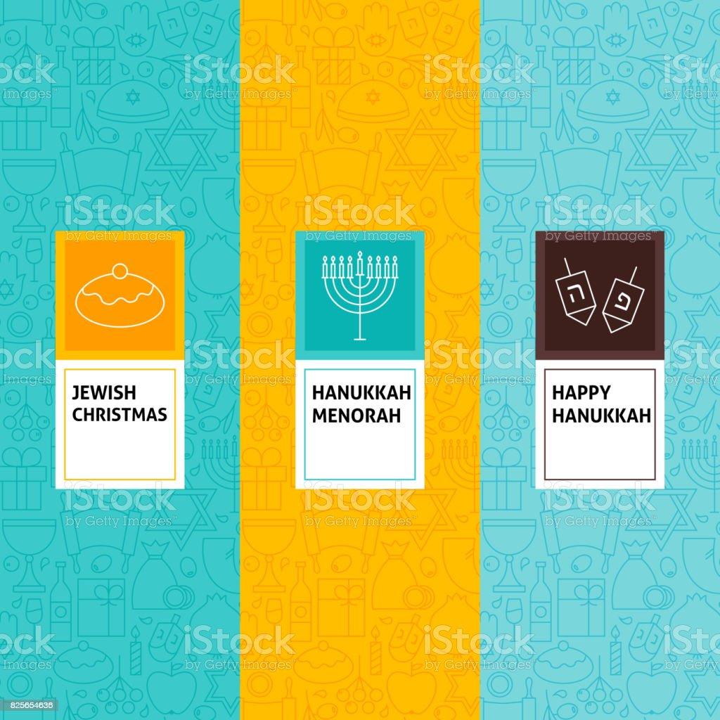 Line Happy Hanukkah Patterns Set vector art illustration