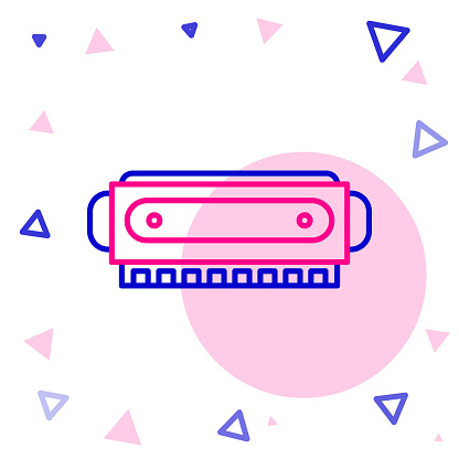 Line Harmonica icon isolated on white background. Musical instrument. Colorful outline concept. Vector Illustration