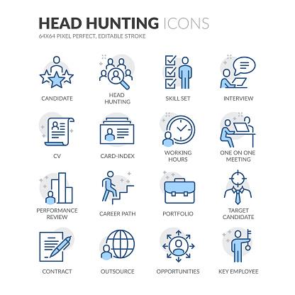 Line Head Hunting Icons