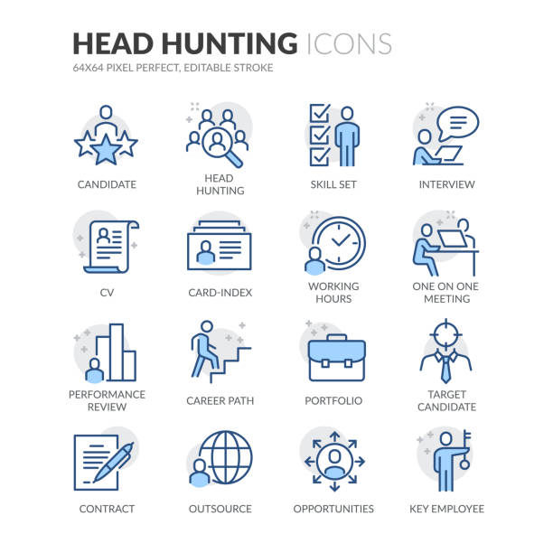 line head hunting icons - business stock illustrations