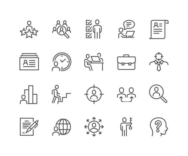 ikony polowania na głowę liniową - umiejętność stock illustrations