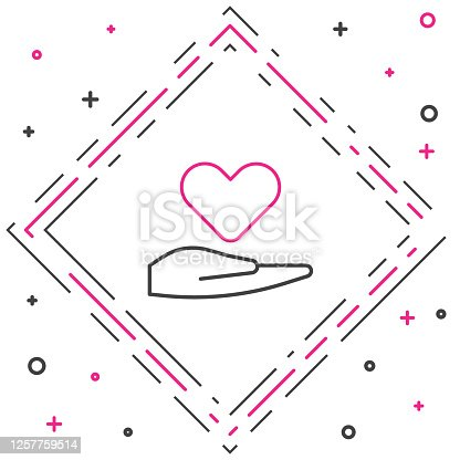 istock Line Heart on hand icon isolated on white background. Hand giving love symbol. Valentines day symbol. Colorful outline concept. Vector Illustration 1257759514
