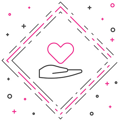 Line Heart on hand icon isolated on white background. Hand giving love symbol. Valentines day symbol. Colorful outline concept. Vector Illustration