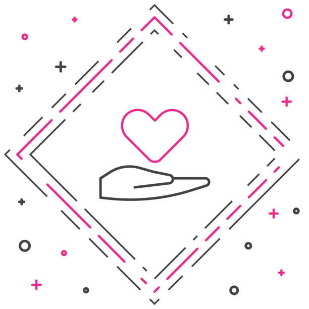 Line Heart on hand icon isolated on white background. Hand giving love symbol. Valentines day symbol. Colorful outline concept. Vector Illustration Line Heart on hand icon isolated on white background. Hand giving love symbol. Valentines day symbol. Colorful outline concept. Vector Illustration abstract clipart stock illustrations