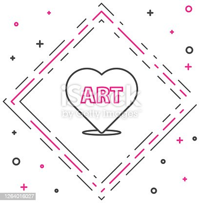 istock Line Heart with text art icon isolated on white background. Colorful outline concept. Vector Illustration 1264016027