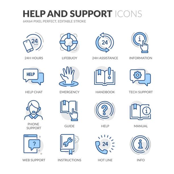 ilustrações de stock, clip art, desenhos animados e ícones de line help and support icons - imagem a cores