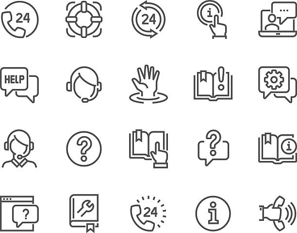 stockillustraties, clipart, cartoons en iconen met line help and support icons - gids