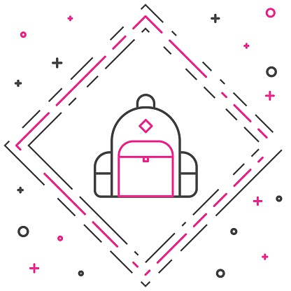 Line Hiking backpack icon isolated on white background. Camping and mountain exploring backpack. Colorful outline concept. Vector Illustration