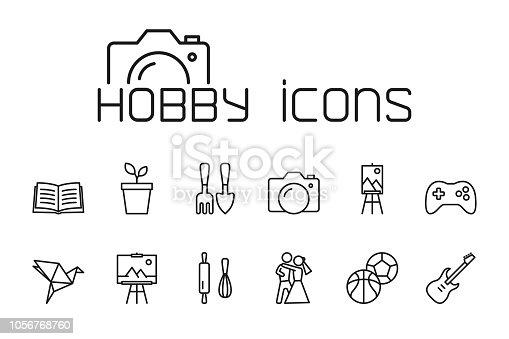 thin line hobby icons set on white background
