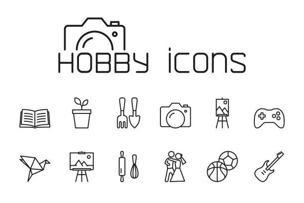 line hobby icons set on white background thin line hobby icons set on white background hobbies stock illustrations
