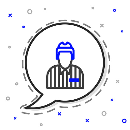 Line Hockey judge, referee, arbiter icon isolated on white background. Colorful outline concept. Vector Illustration