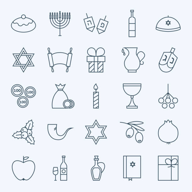 Line Holiday Happy Hanukkah Icons Set Line Happy Hanukkah Icons Set. Vector Set of 25 Jewish Holiday Modern Line Icons for Web and Mobile. Israel Judaism Icons Collection religious symbol stock illustrations