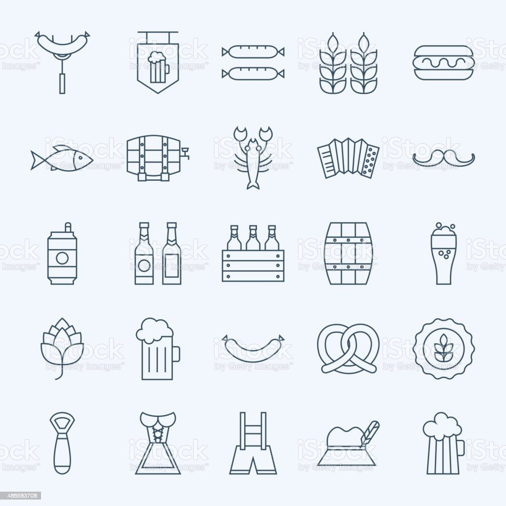 Line Holiday Oktoberfest and Beer Icons Set vector art illustration