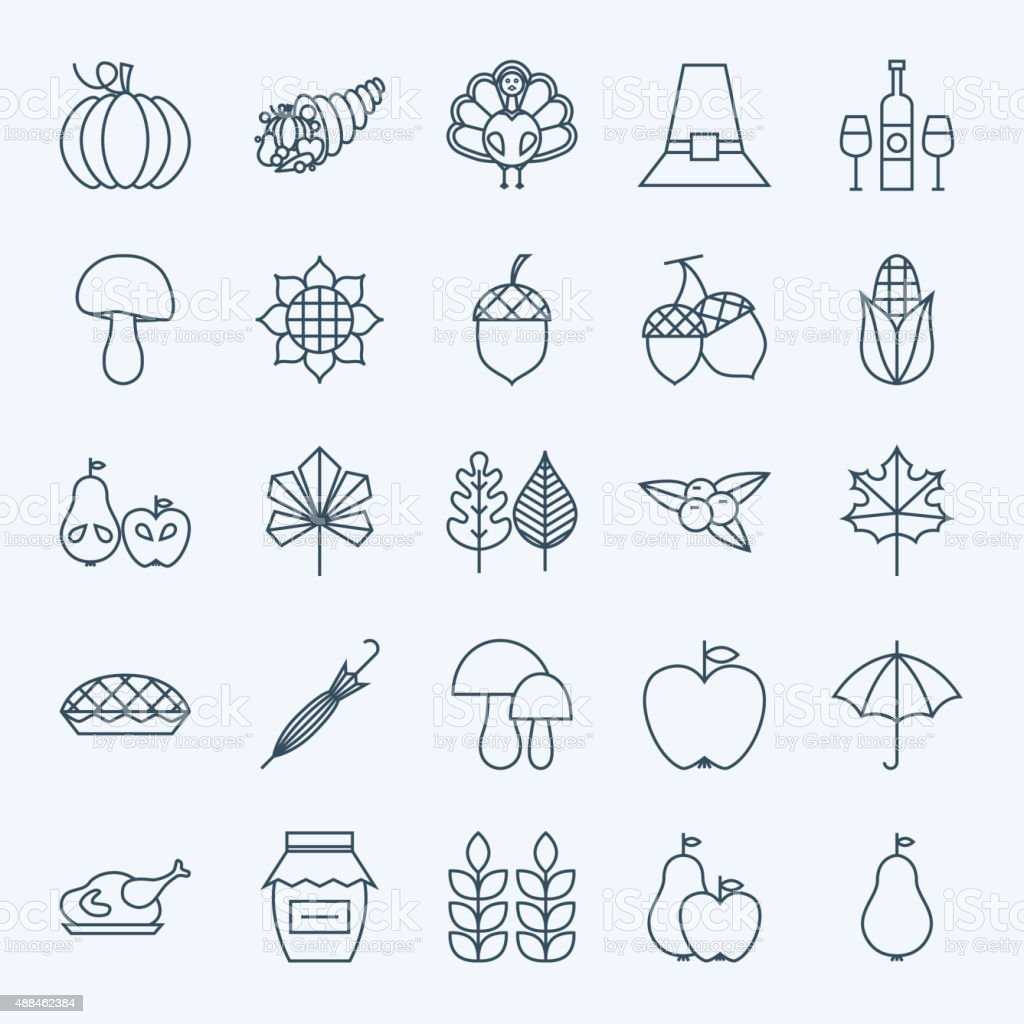 Line Holiday Thanksgiving Day Icons Set. Vector Set of 25 Autumn...
