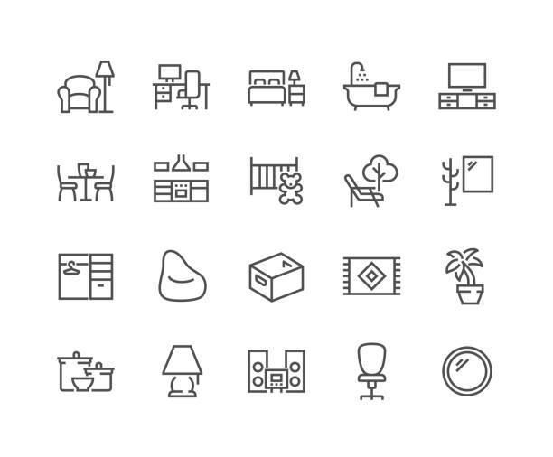 bildbanksillustrationer, clip art samt tecknat material och ikoner med linje hem rums typer ikoner - möbel