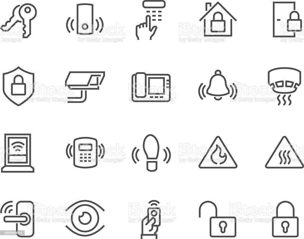 Line Home Security Icons vector art illustration