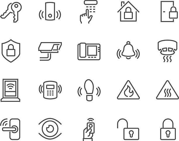 line home security icons - 控制 幅插畫檔、美工圖案、卡通及圖標